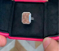 4.50Ct Radiant Cut Beautiful Pink Morganite Halo 14K White Gold Over Women Ring