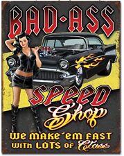 Bad Ass Speed Shop Metal Tin Sign Garage Shop Bar Home Wall Car Decor New