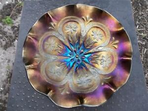 "DUGAN FLOWERS & FRAMES CARNIVAL GLASS RUFFLED PEDESTAL 9"" BLACK AMETHYST BOWL"