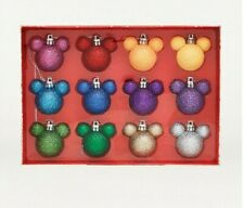 DISNEY MICKEY MOUSE SET OF  CHRISTMAS RAINBOW GLITTER BAUBLES NEW