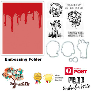 Tim Holtz Halloween Stamps, Dies & Embossing Folder, Dripping Blood, Zombies