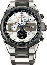 ORIENT FTT0J003W0 Herrenuhr Chronograph Tachymeter Aviator Weiß Grau Edelstahl