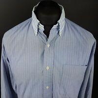 Ralph Lauren Mens Vintage Shirt LARGE Long Sleeve Blue Classic Fit Striped