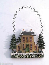 Welcome Friends Christmas Ornament  w/Wire Hanger  Pine Trees    NEW