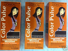 3 X L'Oreal Color Pulse Concentrated Color Mousse ( ELECTRIC BLACK #10) NEW.