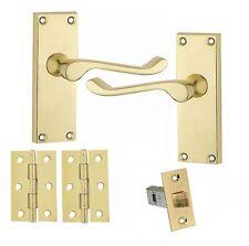 Victorian Scroll Internal Door Handles Polished Brass Incl Hinge&Latch 120x40mm