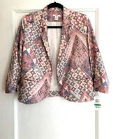 Bar III Women's Red Blue Tan Aztec Abstract Print Open Front Blazer Size Large