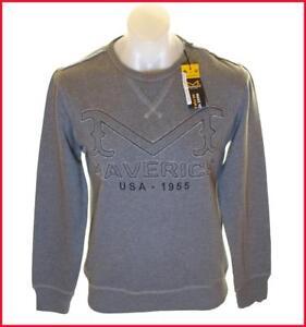 New Men's Wrangler Vintage Maverick Jumper Sweatshirt Medium Embroidered Grey