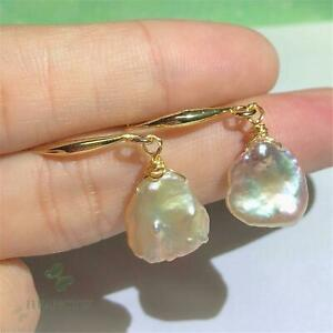13-14mm Natural Baroque Freshwater Pearl Earrings Party Accessories Earbob