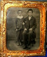 1/6th Size Tintype of Two Young Boys in brass mat/frame