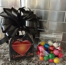 Valentine's Day Gift Basket-Box Dubble Bubble Gumballs 1/2 Pound With Black Bow