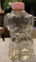 """Vintage Manon Freres Dog Puppy Perfume Bottle Pink Lid Clear Glass 2.75"""" Empty"""