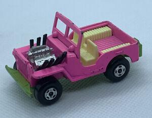 VINTAGE 1971 MATCHBOX SUPERFAST #2 PINK JEEP WILLYS HOT STREET ROD 1:64 ENGLAND