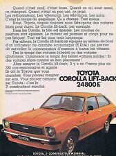 PUBLICITE ADVERTISING 114 1977 TOYOTA Corolla lift-back