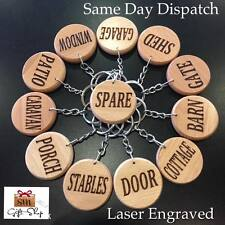Laser Engraved Wooden Keyring Keychain Tag Label Key Chain Rings Fob