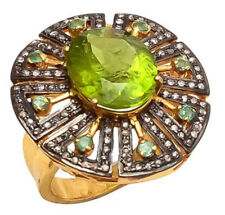 Victorian Look 925 Silver Cocktail Ring 2.85cts Rose Cut Diamond Emerald Peridot