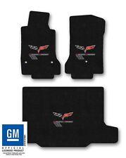 2010-2012 Corvette C6 Convertible Carpet Floor Mat Set w Grand Sport Logo- Ebony