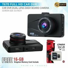 "3"" Car DVR 1080P HD Dual Lens Dash Cam Front and Rear Camera Video Recorder UK"