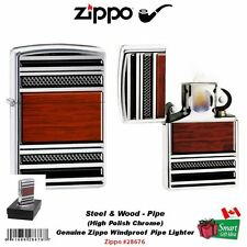 Zippo Steel And Wood Pipe Lighter, High Polish Chrome, Genuine Windproof #28676