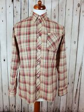 "Vtg 1970s Brown Check Long Sleeve Polycotton Shirt Mod Weller -15.5""/M- HJ10"