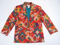 Vintage 1990s Multi Color Tribal Aztec Southwestern Blazer Coat Jacket Womens 8