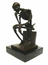 SQUELETTE PENSEUR Bronze Sculpture Personnage Marbre Socle the Skeleton Thinker Statue