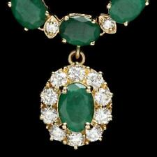Certified Colombian Emerald 25.10cttw and 2.00cttw Diamond 14KT Necklace