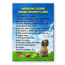 American Cocker Spaniel Property Laws Fridge Magnet Dog Funny