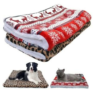Warm Pet Dog Blanket Mat Cat House Kennel Dogs Beds Christmas Sleeping Blanket