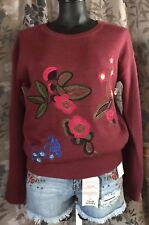 Nwt! Misses Large Relativity Sweater Floral Embroidery Burgundy