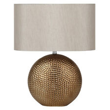 Sabina Bronze/Gold Ceramic Table Lamp with Taupe Oval Shade