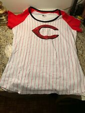"Cincinnati Reds Womens New Era T-Shirt Size XL Sequin Bling ""C"" Retro Pinstripe"