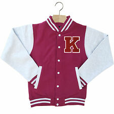 VARSITY BASEBALL JACKET UNISEX PERSONALISED WITH GENUINE US COLLEGE LETTER K