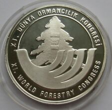 TURKEY 1997 1500000 LIRA XI WORLD FORESTRY CONFERENCE SILVER PROOF COIN
