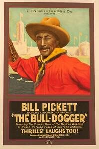 The Bull Dogger Vintage Movie Poster Lithograph Bill Pickett Hand Pulled S2 Art