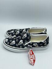 VANS Flash Skulls Classic Slip-On Shoes Black True White Men's Size 12 - NEW