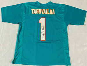 Tua Tagovailoa Signed Teal Jersey Autographed Authentic Beckett BAS Certified