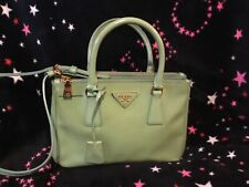 Authentic Prada saffiano vernis patent lux 2 way  bag  purse satchel tote green
