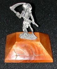 Collectible  Pewter Grimm Reaper Figurine Oregon Madrone Wood Base