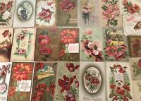 Colorful Lot of 25 POPPIES VINTAGE POPPY FLOWERS floral GREETINGS POSTCARDS-a821