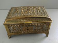 Brass Edwardian Jewelry Box Casket Germany Erhart & Sohne Cherub Motif Antique