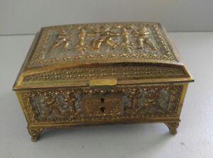 Brass Edwardian Jewelry Box Casket Germany Erhart & Sohne Cherub Motif Antique