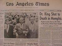 VINTAGE NEWSPAPER HEADLINE -MARTIN KING DEAD SNIPER SHOT KILLED MEMPHIS MLK 1968