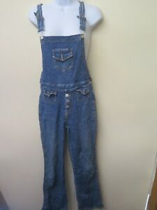 VINTAGE 1970's Stretch Flared Denim Dungarees Overalls Size XS UK 6/8 Euro 34/36