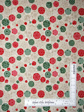 Christmas Red Green Snowflakes Cotton Fabric Patrick Lose Snow Dots By The Yard