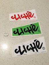 Cliche' Skateboard Stickers x3 - Large (15cm) New!