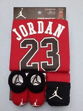 AIR JORDAN Newborn Baby 3-piece RED GIFT set: ROMPER, Cap, Booties 0-6 Months.
