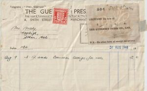 1944 GUERNSEY GERMAN EMPLOYMENT 1D ISOLATED ON STAMPED RECEIPT