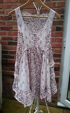pretty pink brown grey floral print dress tunic top boho 12 Medium ruffle frill
