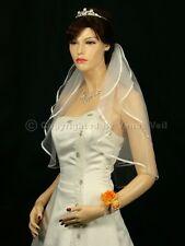 "2T Ivory Bridal Short Length 1/4"" Ribbon Edge Wedding Veil"